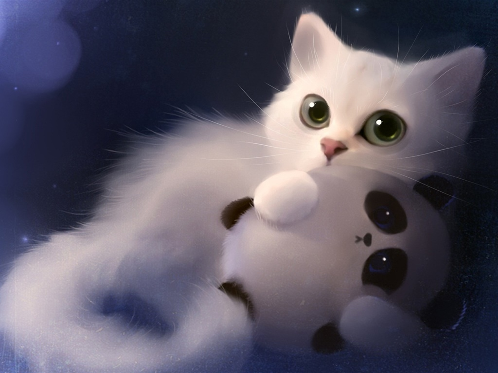 水彩画,猫与玩具熊猫 1024x768 桌布图片