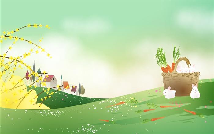 胡萝卜,白兔子,篮子,春天主题矢量图像